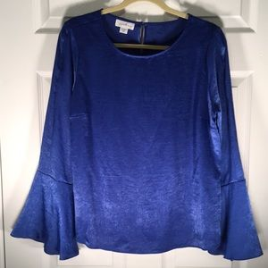 Jaclyn Smith Royal Blue Bell Sleeve Blouse